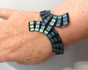 Beaded bracelet, Tila bracelet, blue bracelet, handmade bracelet, tile bracelet, trending bracelet, gift, girlfriend gift,