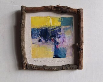Apr. 7, 2016 - Framed Original Abstract Oil Painting - 9x9 painting (app. 9 cm x 9 cm) with original frame