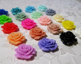 Drilled Resin Ruffled Rose Flower Choose your Colors 18mm Beads 931