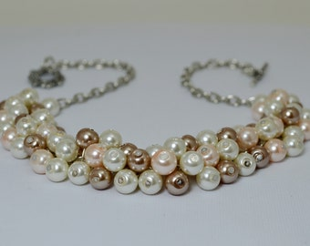 Ivory, Taupe and Blush Pearl Necklace, bridesmaid necklace, blush bridal jewelry, pearl necklace, ivory bridal jewelry, wedding necklace.