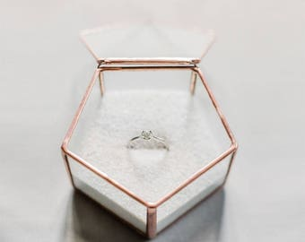 Pentagon ring box, Geometric ring box, Geometric bearer box, Wedding ring box, Gold ring box, Geometric Glass Box, Copper ring box (JB13)