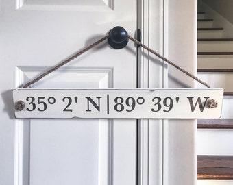 Custom coordinates wood sign, address sign, latitude longitude wood sign, gps coordinates wood sign, wedding gift, housewarming gift
