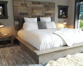 Weathered driftwood finish platform bed base ;CA King, King, Queen, Full, Twin