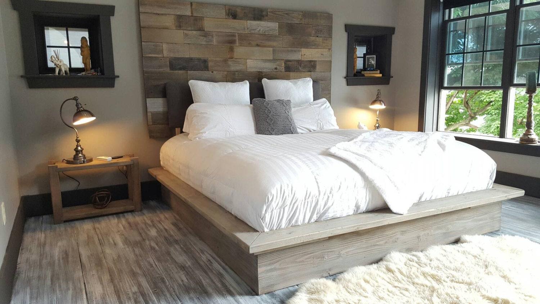 Weathered driftwood finish platform bed base CA King King