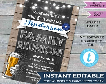 Family Reunion Invitation Annual Summer Kick-off Invite Backyard Family BBQ Party Gathering Rustic Chalkboard Printable INSTANT Editable 5x7