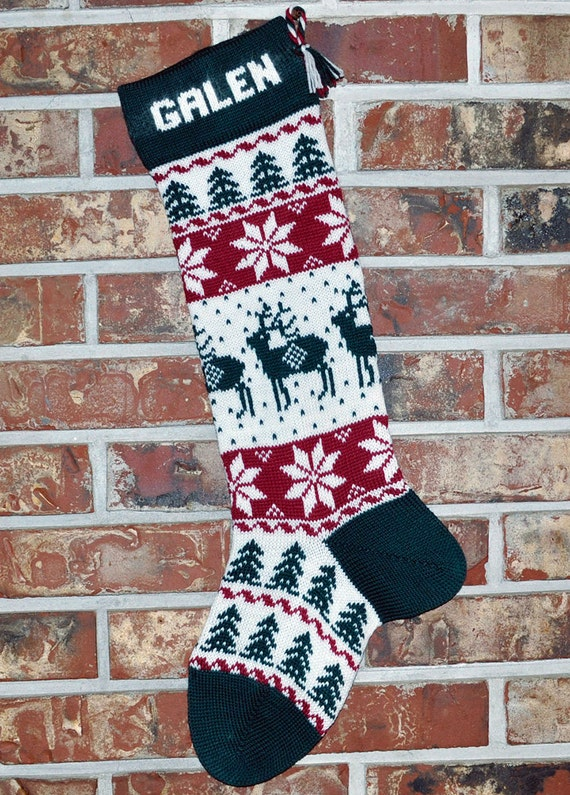 Personalized Knit Christmas Stocking 100 Wool Reindeer