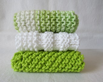 Set of 3 Bright Lime Green & White   Hand Made Wash Cloths