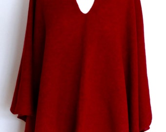 Deep Berry Red Merino Lambswool Wrap Poncho Made to Order
