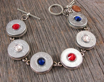 Bullet Jewelry - Bullet Bracelet - MEMORIAL DAY, Labor Day, 4th of July - 20 Gauge Shotgun Casing Patriotic Red, White & Blue Bracelet