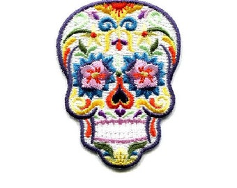 Skull - Sugar - Candy - Calavera - Mexican - All Souls Day - Embroidered Iron On Patch - W