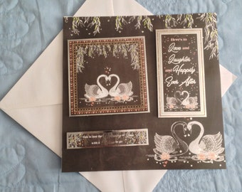 Here's to Love and Laughter and Happily Ever After - Wedding or Engagement card - Hand made
