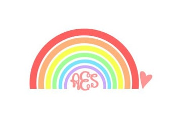 Rainbow Monogram instant download cut file for cutting machines - SVG DXF EPS ps Studio3 Studio (monogram font sold separately)