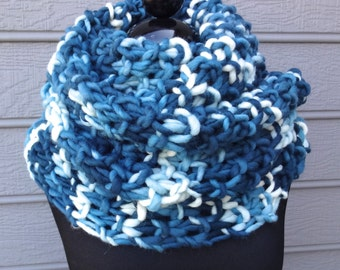 Chunky Blue & White Scarf - Knit Cowl - Knit Wrap - Wool - Shoulder Warp Cowl - Infinity Scarf - Figure 8 Scarf - Huge Scarf