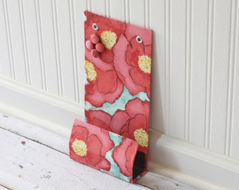 Locker size small Message Center Magnet Board with Pocket - 6x12 inches - Big Poppies