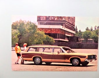 Vintage Car 1968 Ford Country Squire Antique Car Postcard Station Wagon