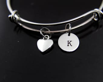 Love Heart Bracelet Silver Heart Charm Bangle Heart Charm Heart Jewelry Romantic Gift Personalized Bangle Initial Bracelet