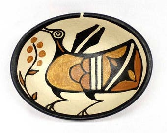 Native American Santo Domingo Poly Chrome Pottery Bowl by B. Veale, Ca 1970's   #1290