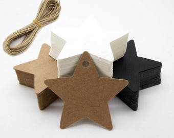 50 x Thank you tags with jute rope, Packaging tags, Gift tags, Wrapping tags, Kraft tags,Star tags, Earth tone tags,Black tags TZ2108