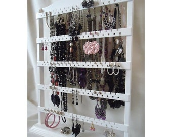 """ON SALE Table Top Earring Stand, Jewelry Organizer, Earring Holder, White Stain, Oak Hardwood, Gorgeous Necklace Display, """"You Choose The St"""