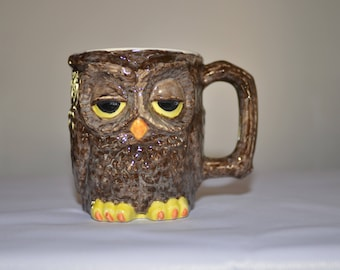 Brown Owl Mug, Owl Coffee Mug, Vintage Owl Mug