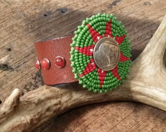 Vintage Beaded Native Medallion Buffalo Nickel Stone Leather Cuff
