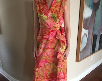 Long Multi Color Floral Print Long Ruffle Belted Dress 1970 Joan Curtis