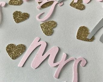 Mr. and Mrs. Confetti, Mr. Confetti, Mrs. Confetti, Heart Confetti, Bridal Party Confetti, Wedding Confetti, Confetti, Pink Confetti