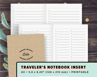 TN A5 Traveler's Notebook Inserts | To Do List, Blank List Template, Check list | TN Printables, Foxy fix #8, PDF, Instant Download
