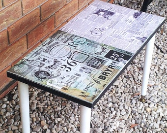 Retro Table Coffee/Side/Bedside Decoupaged Vintage Shabby Chic Good Condition