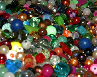 "NEW  8/oz  Multi-Mixed """"Everything glass MIX"" Loose lot of Beads  6mm-15mm Glass only **NO junk**"