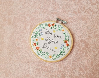 Let your light shine - Embroidery hoop