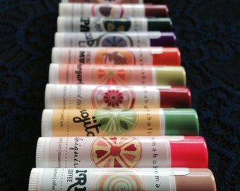 Any 10 cocktail-flavored lip balms from Aromaholic - add note at checkout with flavors - Gin & Tonic, French 75 lip balm and more