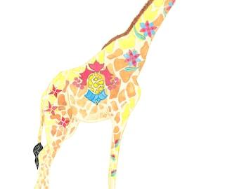 Giraffe India Yellow - Fine Print. Original. Custom Art
