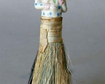 Vintage English crumb brush-1920-30s-Porcelain lady