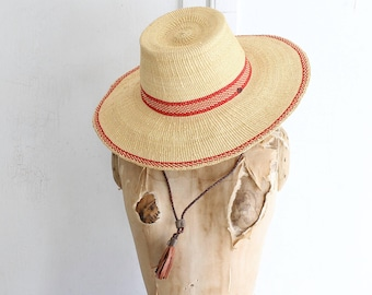 Wide brim straw hat with flat top & leather strap | fair trade