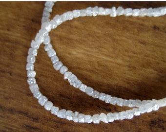 White Diamond Beads, Rough Diamonds, Natural Diamonds, Raw Diamonds, Box Beads, Conflict Free Diamond, 1mm To 2mm Beads, 8 Inch Half Strand