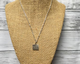 Fly hand-stamped brass or silver-coated necklace