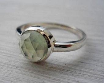 Prehnite ring rose cut prehnite ring pale green gemstone ring silver ring sterling silver prehnite ring