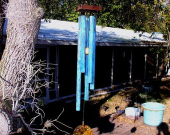 FOREST SONG Medium Copper Wind Chime with Blue Patina
