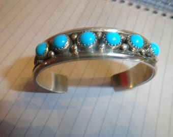 Navajo Native American Sterling Silver Bracelet With Sleeping Beauty Turquoise