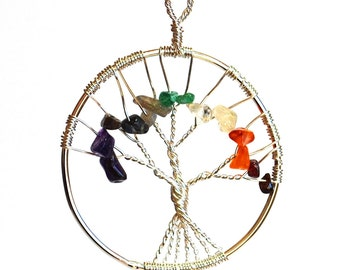 Beautiful Tree of Life Chakra Pendant Necklace on Silver Chain