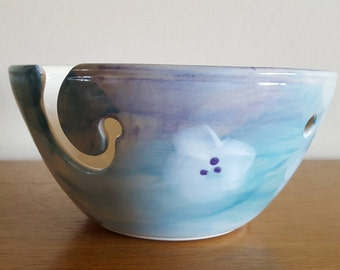Floral pottery yarn bowl.