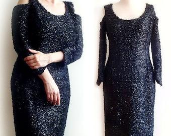 SALE Vintage Black Shine dress Evening Black Dress Little Black Dress size M Italian cocktail dress Halloween Goth Black Dress.