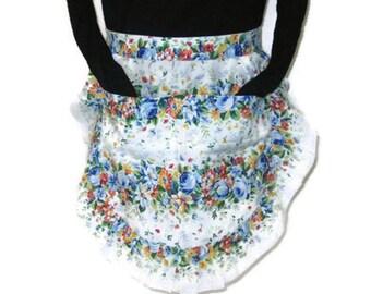 60s 70s Floral Apron Floral Half Apron 60s Flowered Apron 70s Kitchen Apron Apron with Pockets Ruffled Apron Blue White Floral Apron