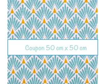 Coupon fat quarter 50 cm x 50 cm, fabric turquoise scales, art deco fabric