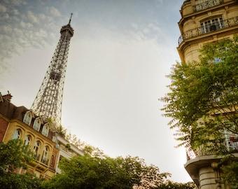 Eiffel Tower Photo, Paris photograph, Neutral Colors France Print Beige Apartments Buildings Pale Pastel par23