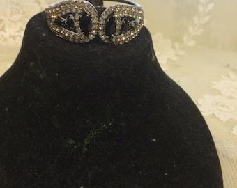 Beautiful Clamper Rhinestone and Black Jett Bracelet