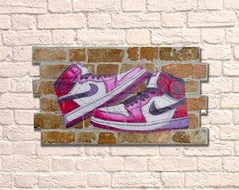 Industrial Jordan No Frame Brick Wall Graffiti Style Artwork. Art. Steampunk & 3D Ceramic Brick Panels. Wall Hanging Kit Supplied. UK MADE