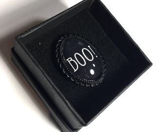 Halloween Boo statement oval black adjustable ring