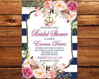 Nautical Bridal Shower Invitation Floral Anchor Wedding Shower Invitations, Navy And Gold Bridal Shower,Anchor Invitation Bridal Shower 80